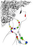 Bijouterie. Girl in the necklace and earrings Royalty Free Illustration