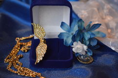 Bijouterie. Composition in blue and white simulated jewelry Royalty Free Stock Photography