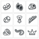Bijouterie icons set. Vector Illustration. Vector  Flat Icons collection on a white background for design Stock Photo