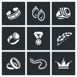 Bijouterie icons set. Vector Illustration. Royalty Free Stock Photography