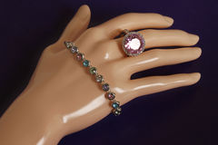 Bijouterie jewelry ring bracelet on mannequin hand Royalty Free Stock Photo