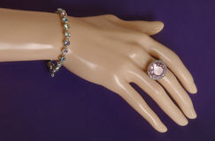 Bijouterie jewelry ring on mannequin hand Royalty Free Stock Image