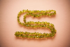 Bijouterie necklace of green beads Royalty Free Stock Photography