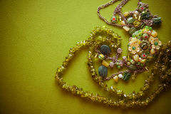 Bijouterie necklace of green beads Royalty Free Stock Photos