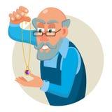 Bijoutier, orfèvre Profession Man Vector Saphir, émeraude, pierres gemmes Processus de contrôle de qualité de priseur cartoon Photographie stock