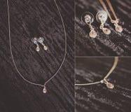 Bijoux, collier et boucles d'oreille de luxe Photos libres de droits