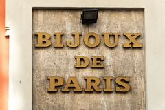 Bijoux de Paris in Milaan, Italië royalty-vrije stock foto's