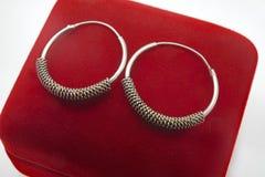 Bijoux féminins - boucles d'oreille argentées sous forme de cercles photographie stock