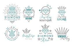 Bijoux Logo Set pour le stor de bijoux Photos stock
