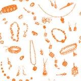 Bijoux tirés par la main de griffonnage, modèle sans couture de bijou Photos libres de droits