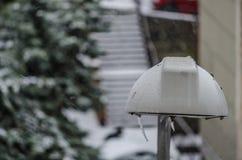Bijzondere lamppost tijdens een sneeuwval, Savona in Ligurië stock foto's