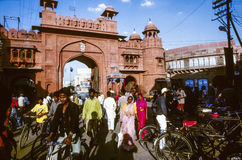 People pass the gate to the  Junagarh Fort Royalty Free Stock Image