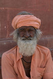 Bikaner, India. OCTOBER 12, 2015: Unidentified Sikh man with white hair and beard in Bikaner, Rajastan, India. Sikh pilgrims travel from all over India to Stock Photo