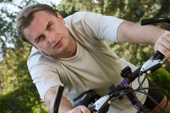 On a bike Royalty Free Stock Image