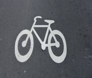 Bike. Painted bike sign on a road Royalty Free Stock Images