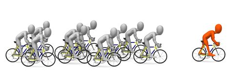 Bike. 3d render of cartoon character riding on bike Royalty Free Stock Photography