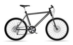 Bike. Black mountain bicycle isolated on white Royalty Free Stock Photos