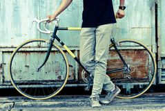 Bike. Man with beautiful bike vintage Royalty Free Stock Images