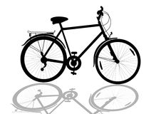 Bike. Isolated bike silhouette with shadow royalty free illustration