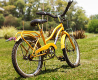 Bike. A yellow bike on the fields Royalty Free Stock Photo