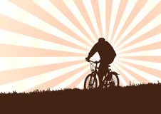 Bike. Man on bike in the evening (background, vector Stock Photos