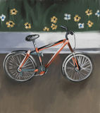 Bike. Painting of bike next to wall in the park stock illustration