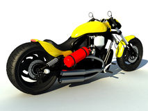 Bike. A huge yellow powerful bike on a white background. Such bikes are also known as muscle bikes Stock Photos