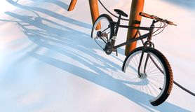 Mountain bike in snow Stock Image