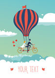 Bike above the clouds. Groom and bride are flying on a tandem bike above the clouds. Vector illustration. Template for invitation and greeting cards royalty free illustration