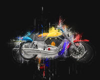 Bike abstract illustration. Isolated on black background Stock Photos
