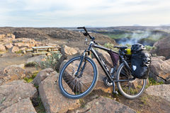 Bike with active equipment at Iceland mountains scene Royalty Free Stock Image