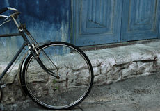 Bike Against Wall. Still life composition detail, horizontal color image Royalty Free Stock Images