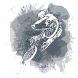 Bike al jinete que salta en un fondo abstracto artístico ilustración del vector