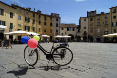 Bike in Amphitheater square in Lucca Stock Photo