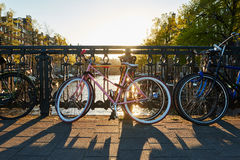 Bike on amsterdam street in city Royalty Free Stock Photos