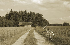 Bike and ancient farmhouse on wheat farmland Stock Image