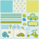 Bike And Car Design Elements For Scrapbook Royalty Free Stock Photos