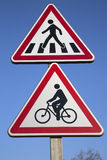 Bike And Pedestrian Crossing Sign Royalty Free Stock Images