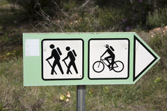 Bike And Walking Sign Stock Photography