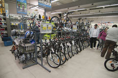 Bike area in Decathlon store. Bicycles zone of Decathlon store from Bucharest, Romania stock image