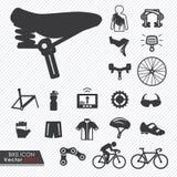 Bike as ferramentas e a peça e os acessórios do equipamento ajustados ilustração royalty free