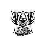 bike auto crest with skull in helmet Stock Image