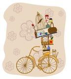 Bike. The bike on the background of flowers.Bike household objects Stock Image