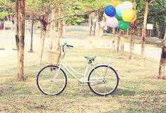 Bike and Balloon. Vintage style Stock Photos