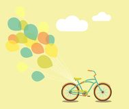 Bike and Balloons. Bicycle with balloons and space for your greeting Stock Photos