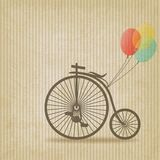 Bike with balloons retro striped background Royalty Free Stock Photography