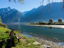 Bike. On the bank of river Royalty Free Stock Photography