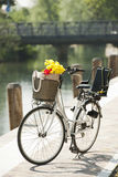 Bike with basket and flowers. Bike with baslet and flower along river Stock Images