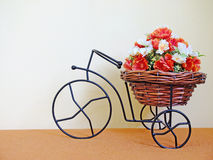 Bike with basket of flowers. Stock Photography