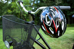 Bike basket and helmet Stock Photography